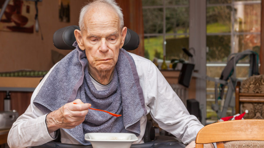 Requiring care Seniors eating