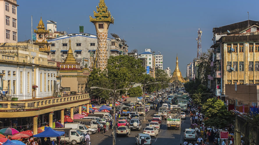 Yangon city in Myanmar