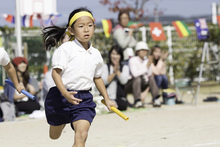 The scene of the sports day in Japan's nursery school